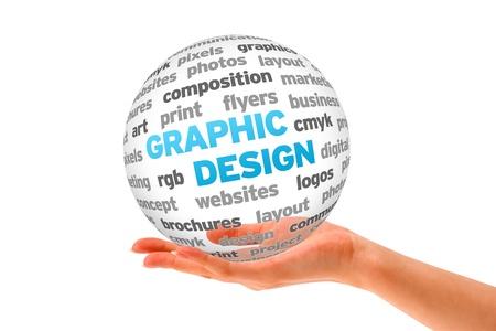 손을 흰색 배경에 3D 그래픽 디자인 구체를 들고.