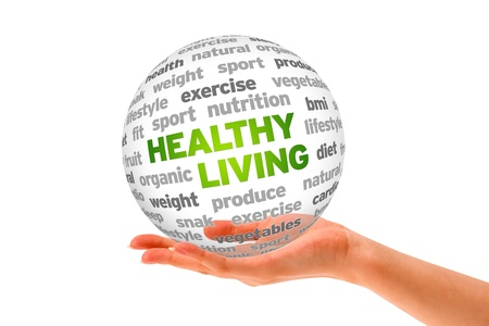 Hand holding a 3d Healthy Living Sphere on white background.