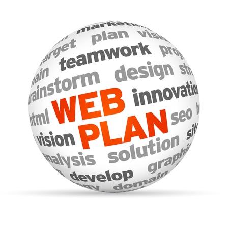 3 d ウェブ計画単語の球白い背景の上。