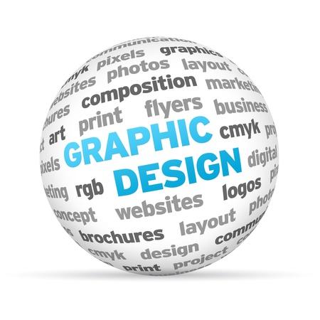 3d Grafisch ontwerp Word Sphere op een witte achtergrond.
