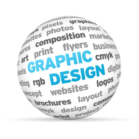 web marketing: 3d Graphic Design Word Sphere on white background.