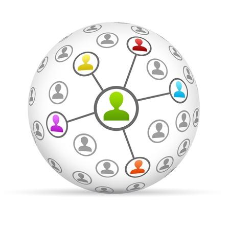 redes de mercadeo: Esfera 3d Red Social sobre fondo blanco.