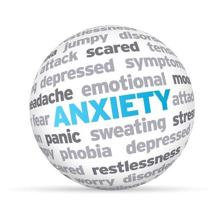 ansiedad: La ansiedad 3d Esfera palabra sobre fondo blanco.