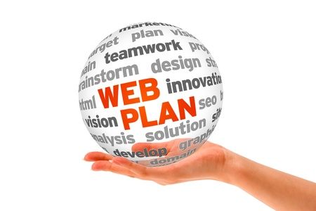 web marketing: Hand holding a 3d Web Plan Sphere on white background.  Stock Photo