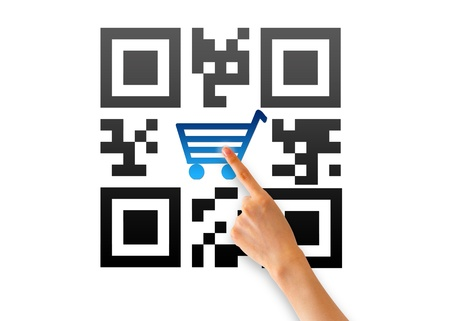 barcode scanner: Hand pointing at an QR e-commerce icon.