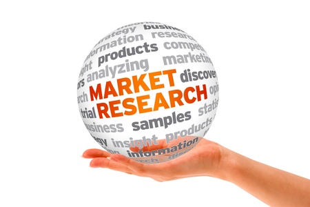 consumer: Hand holding a 3d Market Research Sphere on white background.