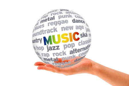 new age music: Hand holding a 3d Music Sphere on white background.  Stock Photo
