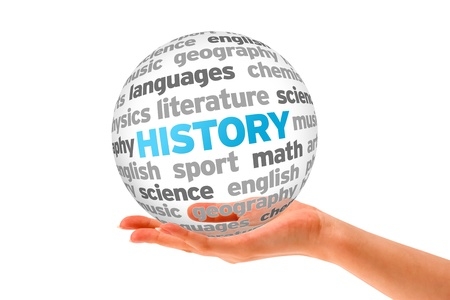 history: Hand holding a History Word Sphere on white background.