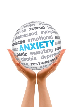 Hands holding a Anxiety Word Sphere sign on white background.