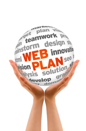 Hands holding a Web Plan Word Sphere sign on white background.