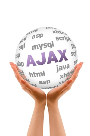 ajax: Hands holding a Ajax word Sphere on white background.