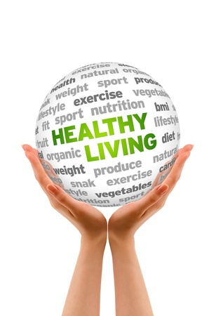 healthy person: Hands holding a Healthy Living Word Sphere sign on white background.
