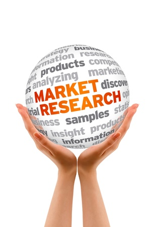 Manos la celebración de una Investigación de Mercado Palabra signo esfera sobre fondo blanco.