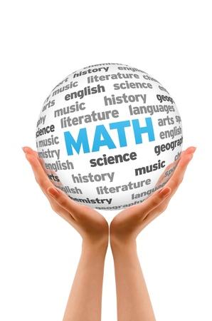 matematica: Manos sosteniendo un cartel Palabras de la Matem�ticas Esfera sobre fondo blanco.