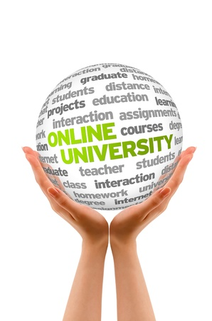 university word: Hands holding a Online University Word Sphere sign on white background. Stock Photo