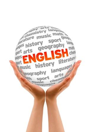 Handen die een Engels woord Sphere teken op witte achtergrond.