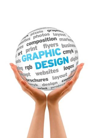 Hände halten einen Grafik-Design Word-Sphere Zeichen auf weißem Hintergrund. Standard-Bild - 13993698