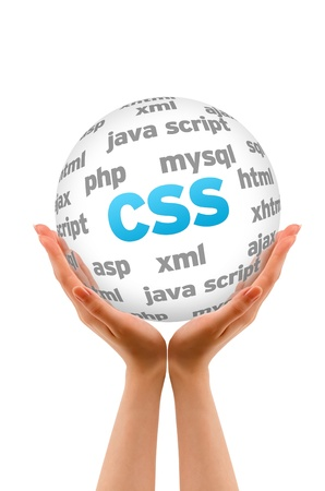 cascading style sheets: Hands holding a Cascading Style Sheets Word Sphere on white background.