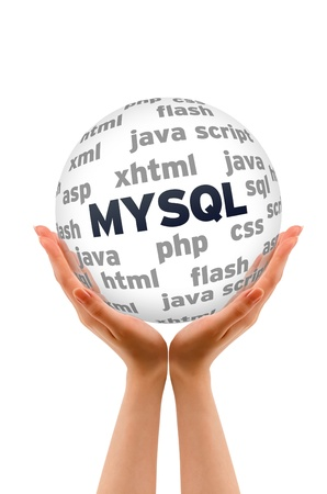 hypertext: Hands holding a MYSQL Database Word Sphere on white background. Stock Photo