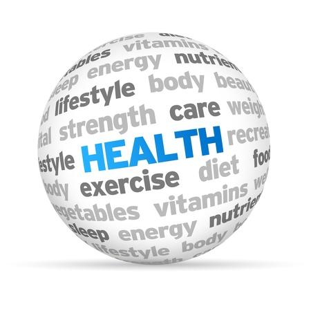 3d Health Word Sphere op een witte achtergrond. Stockfoto