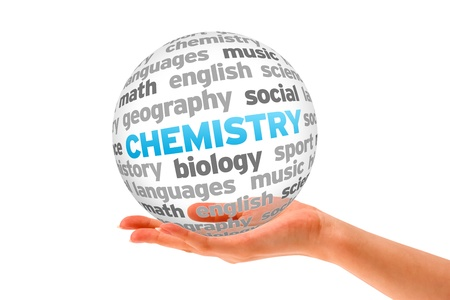 Hand holding a Chemistry Word Sphere on white background