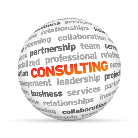 3d Consulting Word Sphere on white background