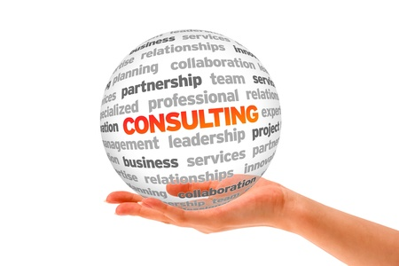 business consulting: Hand holding a Consulting Word Sphere on white background