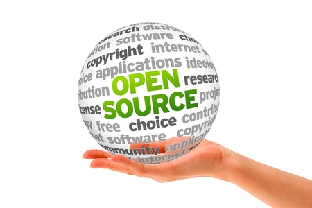 Hand holding a Open Source Word Sphere on white background. Stock Photo - 14037753