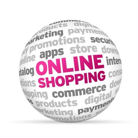 3d Online Shopping Word Sphere on white background.