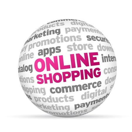 online shopping: 3d Online Shopping Word Sphere on white background.