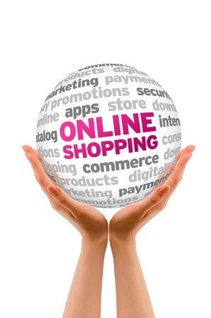 Hands holding a Online Shopping word Sphere on white background.