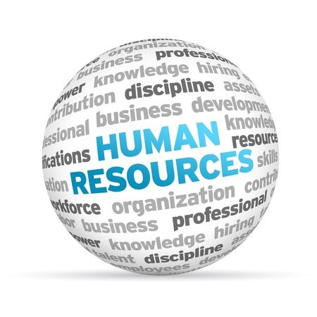 recursos humanos: 3d de Recursos Humanos Esfera palabra sobre fondo blanco.