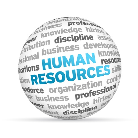 3d Human Resources Word Sphere on white background. photo