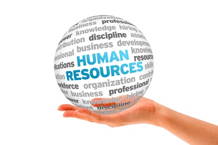 recursos humanos: Mano que sostiene una esfera de Recursos Humanos palabra sobre fondo blanco.