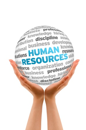 resources management: Hands holding a Human Resources Word  Sphere on white background.