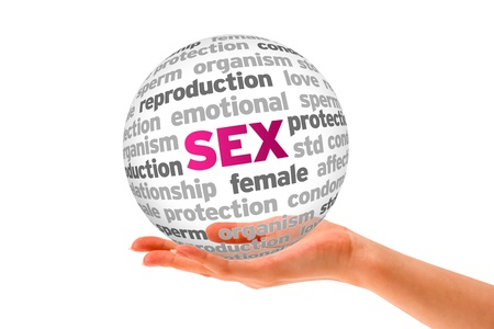 Hand holding a Sex Word Sphere on white background. Stock Photo - 14037726