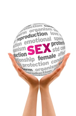Hands holding a Sex Word Sphere on white background. Stock Photo - 14037711