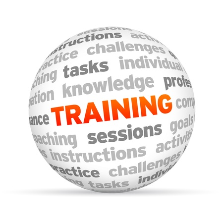 training: 3D Training Word Bol op witte achtergrond.
