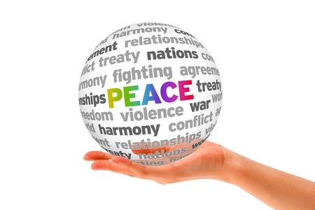 Hand holding a Peace Word Sphere on white background Stock Photo - 14084463