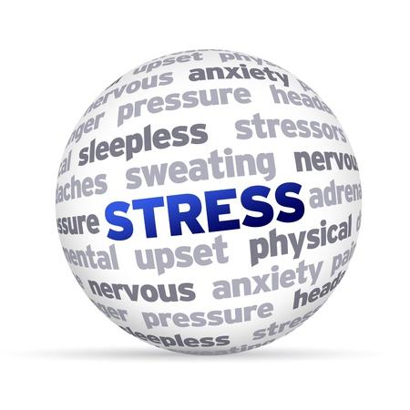 3d Stress Word Sphere on white background  版權商用圖片