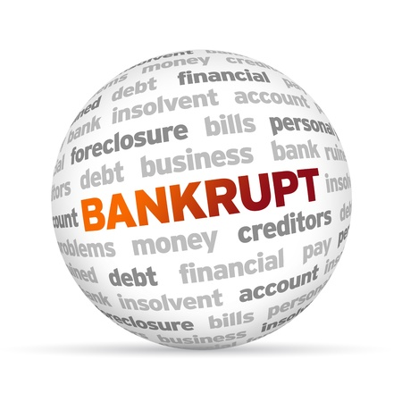 creditors: 3d Bankrupt Word Sphere on white background  Stock Photo