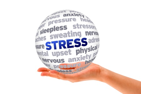 preocupacion: Mano que sostiene una esfera de la Palabra de estrés en el fondo blanco Foto de archivo