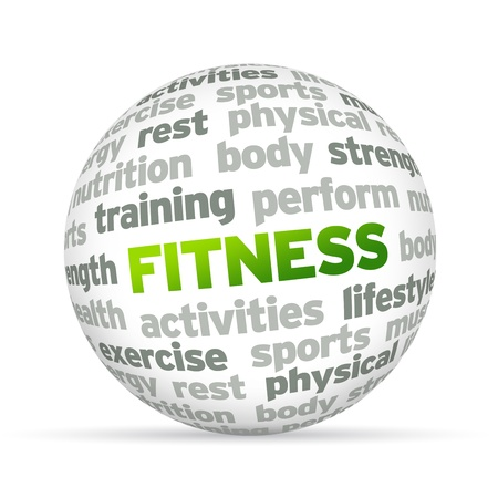 perform: 3d Fitness Word Sphere on white background