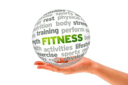 physical fitness: Hand holding a Fitness Word Sphere on white background.