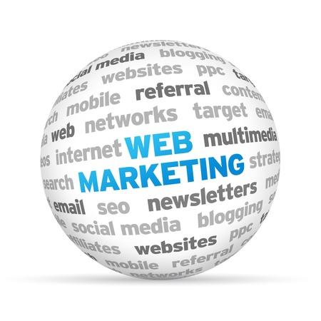 3d 웹 마케팅 단어 구형 흰색 배경입니다. 스톡 콘텐츠