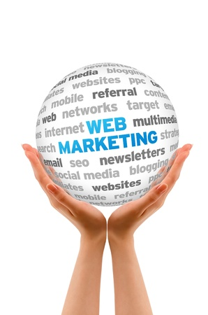 Hands holding a Web Marketing Word Sphere on white background. Фото со стока