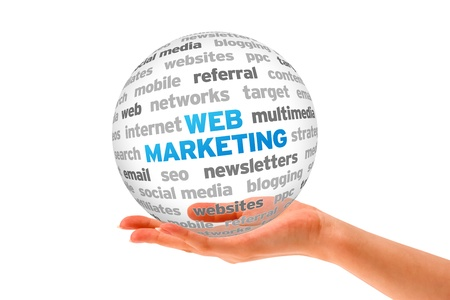 Hand holding a Web Marketing Word Sphere on white background.