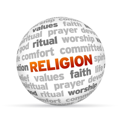 3d temple: 3d Religion Word Sphere on white background. Stock Photo
