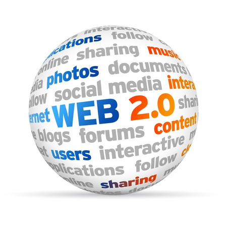 3d Web 2.0 Word Sphere on white background. Stock Photo - 14220215