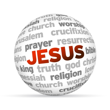 jesus word: 3d Jesus Word Sphere on white background. Stock Photo